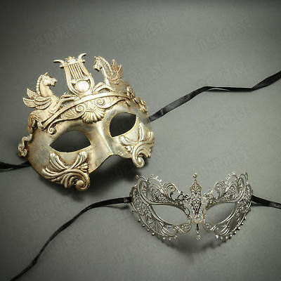 Mask Costume Masquerade Couple Silver Greece Warrior & Princess Laser Cut Women