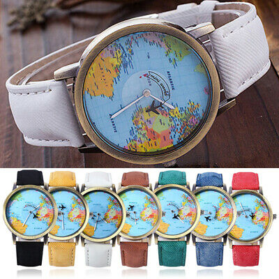 Men Women Global Travel By Plane World Map Dial Denim Fabric Leather Wrist Watch