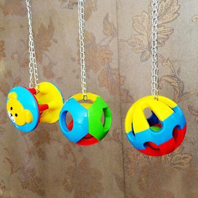 Colorful Pet Bird Bites Toy Parrot Chew Ball Toys Cage Swing Hanging Cockatiel U