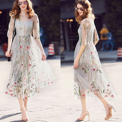 Stunning Women Embroidered Floral Sheer Tunic Embroidery Mesh Dress Sundress