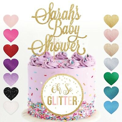 custom baby shower cake topper name personalised customised gold glitter gender