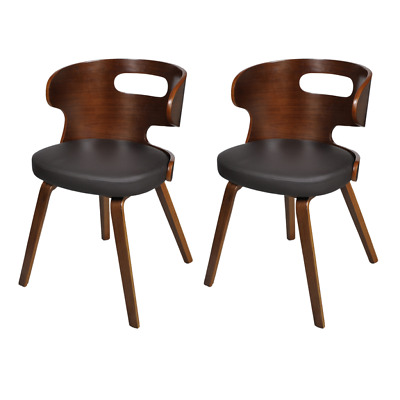 Set of 2 Dining Chairs with Cut-out Bentwood Backrest Retro Style Kitchen Chair