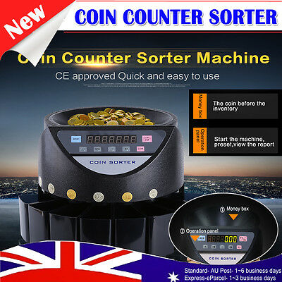 Australian Coin Counting Sorter LED Display Digital Electronic Counter Machine
