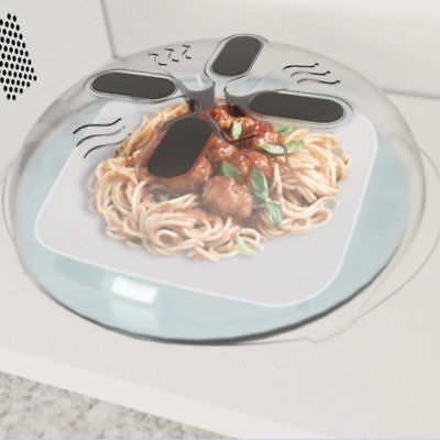 Food Splatter Guard Clear Microwave Hover Anti-Sputtering Cover with Steam Vents