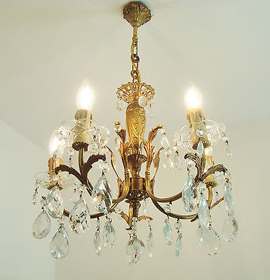 Superb French Glass Chandelier Light Glass Cups Vintage Shabby Style Elegance
