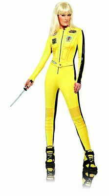 Women Ladies Kill Bill The Bride Uma Thurman Yellow Bodysuit Fancy Dress Costume