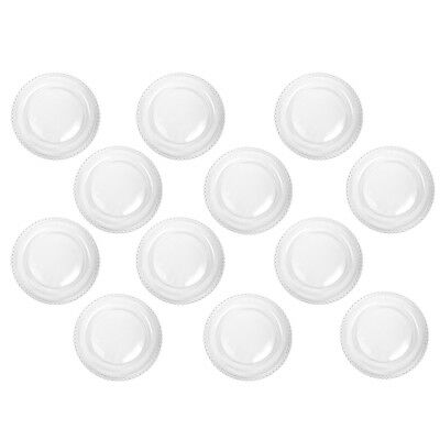 Set of 12 Bella Perle Beaded Edge Glass Dinner Plates Exclusive To Dibor