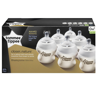 Tommee Tippee Slow Flow Anti Colic 6 Pack 150ml/5oz Baby Feeding Bottles 0m+