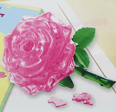 3D Rose Crystal Puzzle Jigsaw Model DIY IQ Furnish Gift Souptoys Gadget Toy