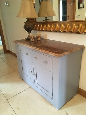 oak dresser with oak drawers and solid grey painted