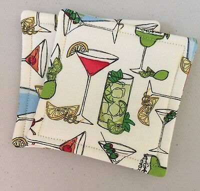 2 Reversible Absorbent Fabric Coasters  Martini Margarita Cocktails New