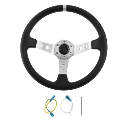 Silver Deep Dish Car Steering Wheel Drifting/track Race/sports/ Pu  Uk