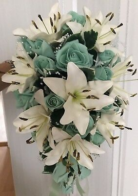 Mint Green roses/Ivory lillies Brides Teardrop Bouquet wedding flowers
