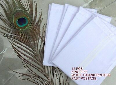 12 Pack 100% Cotton Mens Handkerchiefs White Large 50cm Pocket Square Hankie
