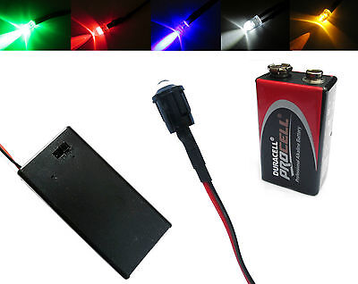 MULTIUSO 5mm LED 12V + ALLEGATO PP3 Supporto con interruttore on / OFF