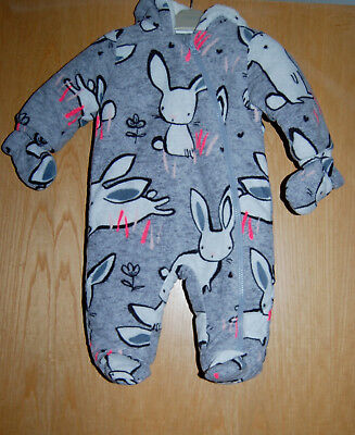 ♡ Next ♡ BNWT Lovely Bunny Fleece All In One Pramsuit Snowsuit Age 3-6 Months