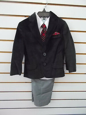 Toddler Boys 4pc Black & Houndstooth Velour Suits Size 2T - 4T