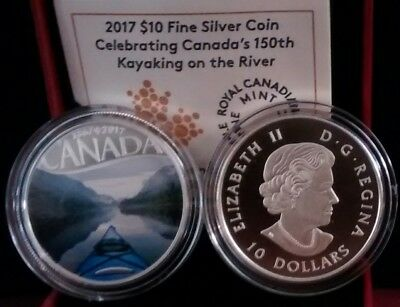 1867-2017 Kayaking on the River $10 Pure Silver Proof Coin Canada's 150th