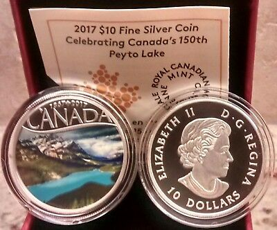 1867-2017 Peyto Lake $10 Pure Silver Proof Coin Canada's 150th