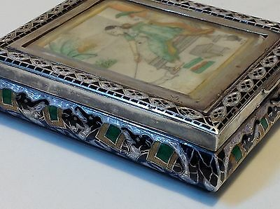 Antique original India silver enameled box hand painted (m1489)