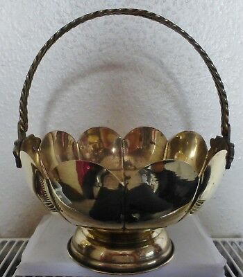 A Lovely Vintage Brass Scalloped Footed Bowl & Grape & Rope Design Handles