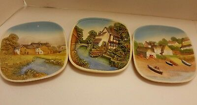 Lot of 3 Vintage Legend Products Chalkware Plates England 1980's 3D Scenes