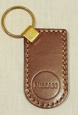 Vintage Burgundy Genuine Leather NISSAN Keychain Key Chain - New/Old Stock