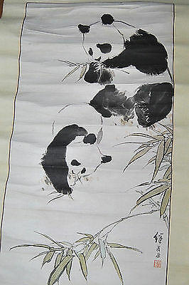 Vintage Large Chinese Scroll, Pandas Bamboo Signed