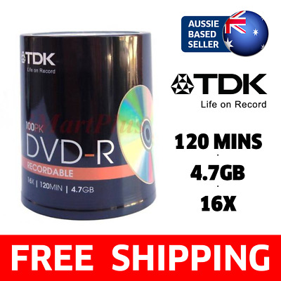 [100 PACK] TDK DVD-R 4.7GB 16X Blank Recordable Discs