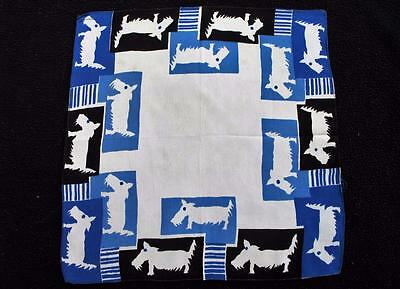 Vintage 1930's Printed Handkerchief Hanky - Scotty Dog - Highland Terrier