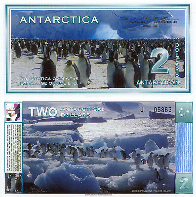 Antarctica 2 Dollars (1996) - Many Penguins