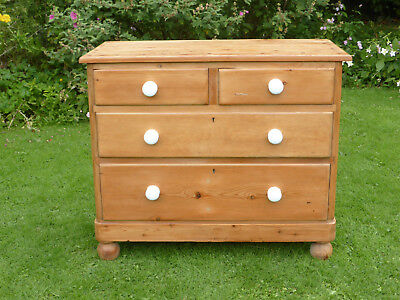 Antique Stripped Pine Chest of Drawers 2 over 2 on Turned Feet + White Pot Knobs