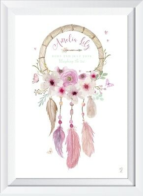Personalised baby girl child dreamcatcher name print nursery gift picture art