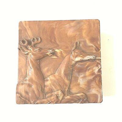 Vintage Plastic Stag and Doe Trinket Box