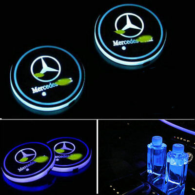 Logo Lamp Badge LED Car Cup Holder Mat Pad Atmosphere Light for Mercedes Benz
