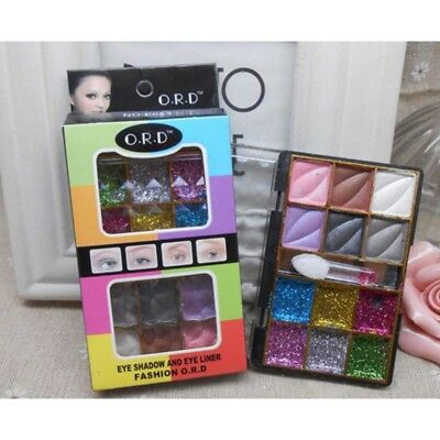 12pc Sparkling Party Pressed Glitter Shadow Eyeshadow & Eyeliner Palette Set