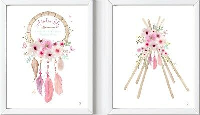 2 Personalised baby girl child dreamcatcher name print nursery gift picture art