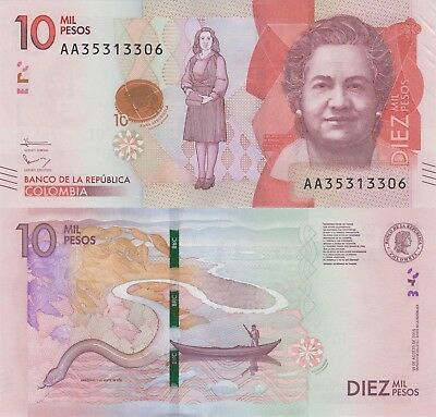 Colombia 10000 Pesos (19.8.2015) - Anthropologist/River/Frog/p460 UNC