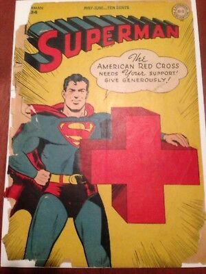 Superman 34, Red Cross cover, low grade complete copy