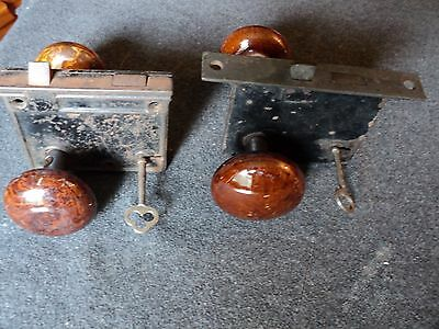 antique brown porcelain door knob 4 knobs lot mortise lock with keys bennington