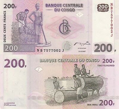 Congo DR 200 Francs (31.07.2007) - Natives and Drums/p99 UNC