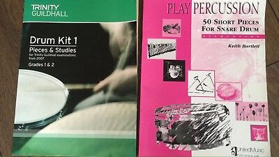 2 x Beginners Drum Books Trinity Guildhall Drum Kit 1,  Play Percussion bartlett