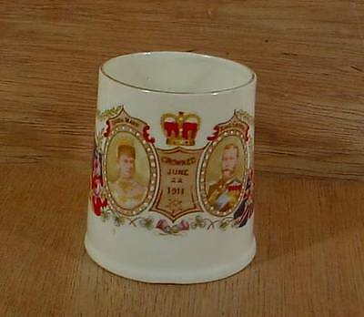 Queen Mary & King George V Crowned June 1911 Demitasse Cup Mug w Moriage