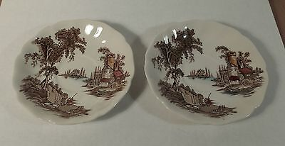 2 The Old Mill Made in England by Johnson Bros Saucer Plate Only w Ruffled Rim