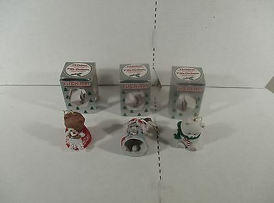 3 Hand Painted Bisque Porcelain Bells Lil' Chimers Christmas Ornaments In Boxes