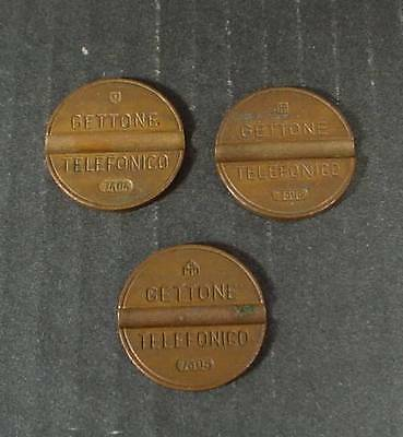 3 Old Italy Gettone Telefonico Telephone Booth Tokens Advertising