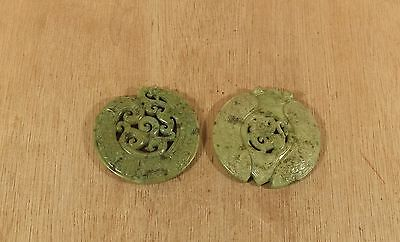 "2 Modern Carved Jade Green Glass Chinese Motif Design Wall Hangings 3"" diameter"