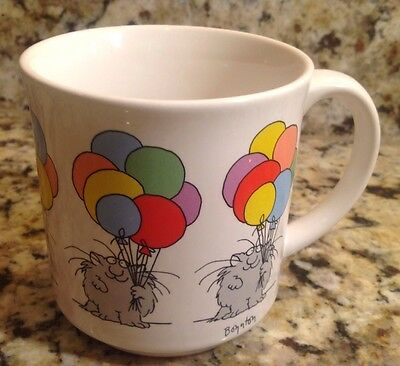 Vintage Sandra Boynton Coffee Mug, Cat, Balloons, Birthday
