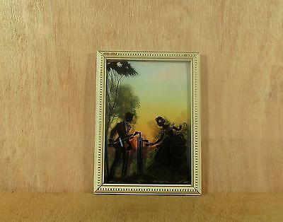 Vintage Reverse Painted Silhouette Victorian Couple Pumping Water at Well Print
