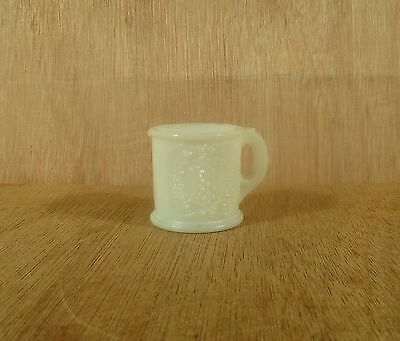 "Opaque Milk Glass Repoussee Motif Toothpick Holder w Handle 1 7/8"" D x 1 7/8"" H"